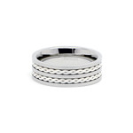 8mm Men's Titanium Sterling Silver Rope Inlay Wedding Ring Band