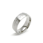 6mm Women's Titanium Cross CZ Dome Wedding Ring Band