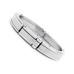 Men's Stainless Steel Interlocking Mechanic Cuff Bracelet 8.5""