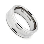 8MM Men's Cobalt Chrome Wedding Band Ring with Satin Center and Polished Round Edges