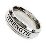 Men's 8mm Cobalt Chrome Ring Wedding Band With Laser Engraved (STRENGTH)