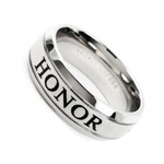 Men's 8mm Cobalt Chrome Ring Wedding Band With Laser Engraved (HONOR)