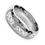 Men's 8mm Cobalt Chrome Dome Ring Wedding Band With Laser Engraved Celtic Knot