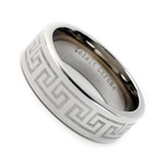 Men's Cobalt Chrome Ring Wedding Band 8MM With Laser Engraved Greek Key