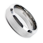 Men's Cobalt Chrome 8mm Beveled Edge Matte Finish Wedding Band Ring