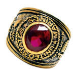 Accents Kingdom Men's  Gold Plated US Marines Military Ring Ruby Red CZ Size 8-13