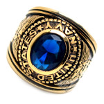 Accents Kingdom Men's Gold Plated  US Air Navy Military Ring Blue Montana CZ Size 8-13