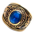 Accents Kingdom Men's Gold Plated  US Air Force Military Ring Blue Montana CZ Size 8-13