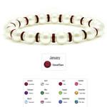 "Accents Kingdom Women's Magnetic Hematite White Tuchi Pearl Garnet Crystal Bracelet 7.5"""