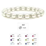 Accents Kingdom Women's Magnetic Hematite White Tuchi Pearl Clear Crystal Bracelet 7.5""
