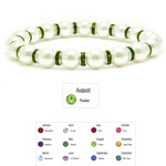 Accents Kingdom Women's Magnetic Hematite White Tuchi Pearl Peridot Crystal Bracelet 7.5""
