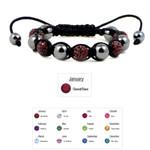 Accents Kingdom Women's Magnetic Hematite Shamballa Style Macrame Garnet Crystal Bracelet