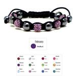 Accents Kingdom Women's Magnetic Hematite Shamballa Style Macrame Amethyst Crystal Bracelet