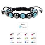 Accents Kingdom Women's Magnetic Hematite Shamballa Style Macrame Aquamarine Crystal Bracelet