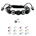 Accents Kingdom Women's Magnetic Hematite Shamballa Style Macrame Emerald Crystal Bracelet