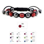 Accents Kingdom Women's Magnetic Hematite Shamballa Style Macrame Ruby Crystal Bracelet