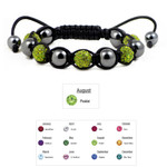 Accents Kingdom Women's Magnetic Hematite Shamballa Style Macrame Bracelet with Peridot Crystal