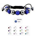 Accents Kingdom Women's Magnetic Hematite Shamballa Style Macrame Sapphire Crystal Bracelet