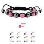 Accents Kingdom Women's Magnetic Hematite Shamballa Style Macrame Rose Crystal Bracelet