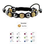 Accents Kingdom Women's Magnetic Hematite Shamballa Style Macrame Citrine Crystal Bracelet