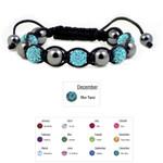 Accents Kingdom Women's Magnetic Hematite Shamballa Style Macrame Blue Topaz Crystal Bracelet