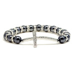 Magnetic Hematite Tuchi Pearl Clear Crystal Cross Bracelet 7.5""