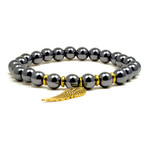 Womens Magnetic Hematite Bracelet with Golden Wing 7.5""