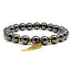 Accents Kingdom Men's Magnetic Hematite Bracelet with Golden Wing 8.5""
