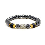 Accents Kingdom Magnetic Hematite Lava Rock Bead Buddha Energy Bracelet 7.5""