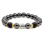 Accents Kingdom Men's Magnetic Hematite Lava Rock Bead Buddha Energy Bracelet 8.5""