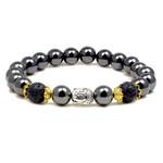 "Accents Kingdom Men's Magnetic Hematite Lava Rock Bead Buddha Energy Bracelet 8.5"""