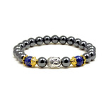 Accents Kingdom Women's Magnetic Hematite Lapis Bead Buddha Energy Bracelet 7.5""