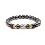 "Accents Kingdom Women's Magnetic Hematite Lapis Bead Buddha Energy Bracelet 7.5"""