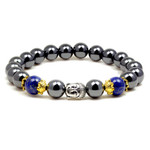 Accents Kingdom Men's Magnetic Hematite Lapis Bead Buddha Energy Bracelet 8.5""