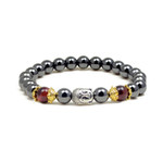 Magnetic Hematite Red Tiger's Eye Bead Buddha Energy Bracelet 7.5""