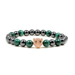 """Women's Magnetic Hematite Leopard Head Malachite Bead Bracelet 7.5"""""""