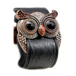 Garnet Crystal Owl Leather Cuff Bracelet