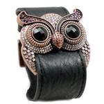 Amethyst Crystal Owl Leather Cuff Bracelet