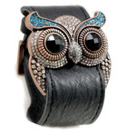 Aquamarine Crystal Owl Leather Cuff Bracelet