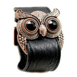 Clear Crystal Owl Leather Cuff Bracelet