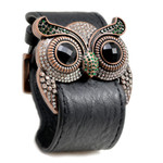 Emerald Crystal Owl Leather Cuff Bracelet