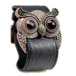 Emerald Crystal Owl Leather Cuff Bracelet