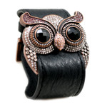 Lt. Amethyst Crystal Owl Leather Cuff Bracelet