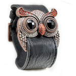 Ruby Crystal Owl Leather Cuff Bracelet