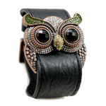 Peridot Crystal Owl Leather Cuff Bracelet