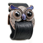 Sapphire Crystal Owl Leather Cuff Bracelet