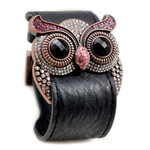 Rose Crystal Owl Leather Cuff Bracelet