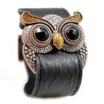 Citrine Crystal Owl Leather Cuff Bracelet