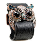 Blue Topaz Crystal Owl Leather Cuff Bracelet