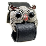 Silver Color Garnet Crystal Owl Leather Cuff Bracelet